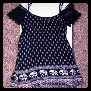 Band of Gypsies navy elephant print shift dress